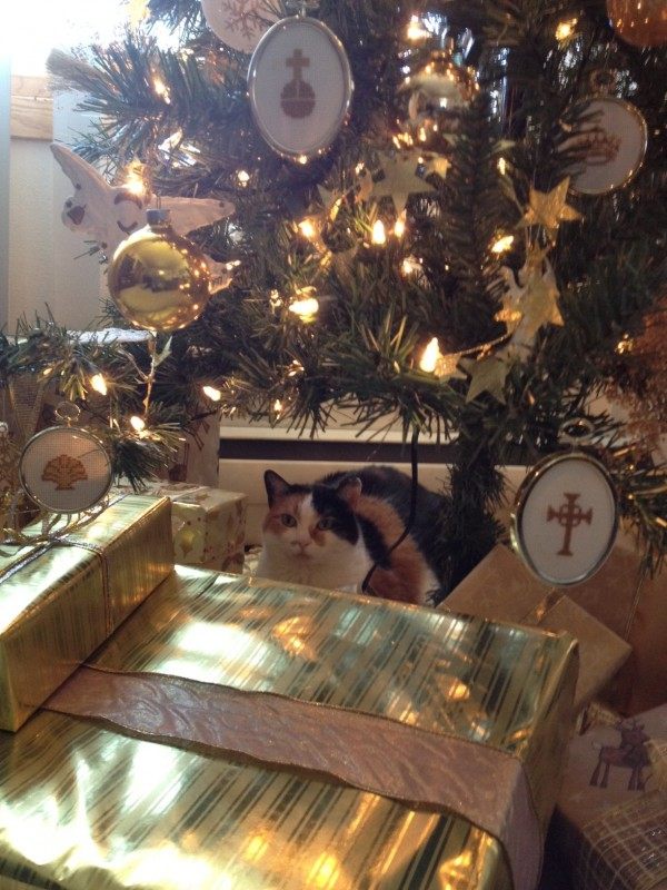 My cat and the Chrismon Tree